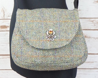 Bella - Green Herringbone Harris Tweed Cross Body Bag