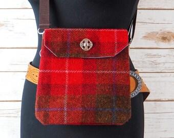 Verity - Red & Brown Tartan Harris Tweed Cross Body/ Bum Bag