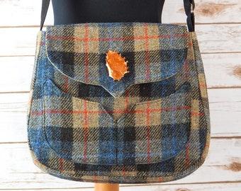 Myrtle - Beige, Black & Brown Tartan Harris Tweed Bag with Cross Body strap