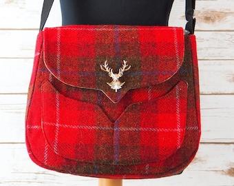 Myrtle - Red & Brown Tartan Harris Tweed Bag with Cross Body strap