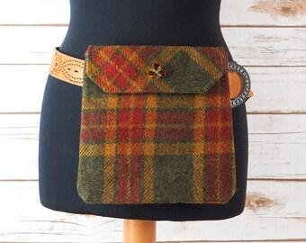 Verity - Green Tartan Harris Tweed Cross Body/ Bum Bag