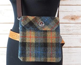Verity - Beige, Black & Brown Tartan Harris Tweed Cross Body/ Bum Bag