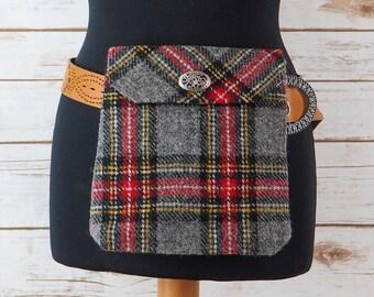 Verity - Grey Tartan Harris Tweed Cross Body/ Bum Bag