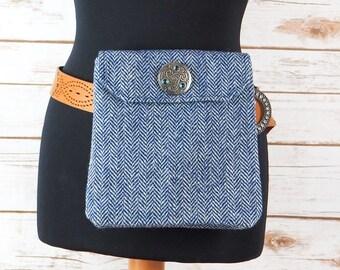 Verity - Blue Herringbone Harris Tweed Cross Body/ Bum Bag