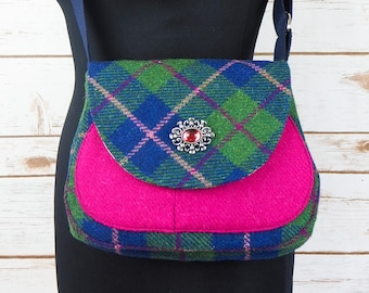 Bella - Green, Pink & Navy Tartan Harris Tweed Cross Body Bag