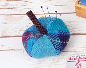 Blue Harris Tweed Pin Cushion