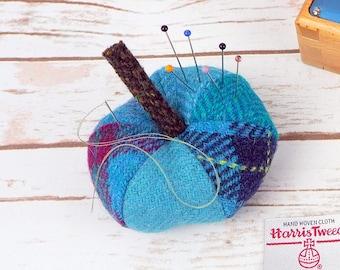 Blue Harris Tweed Pin Cushion