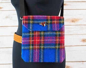 Verity - Blue Tartan Harris Tweed Cross Body/ Bum Bag