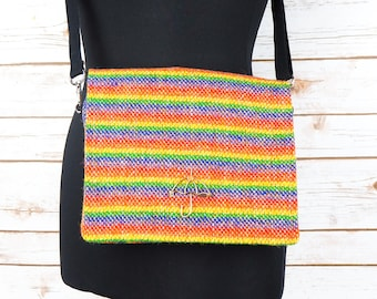 Jane - Rainbow Harris Tweed Cross Body Bag with Vintage Brooch