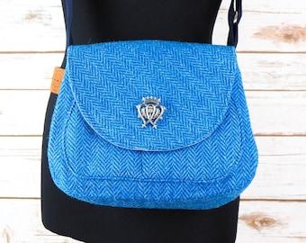 Bella - Blue Herringbone Harris Tweed Cross Body Bag