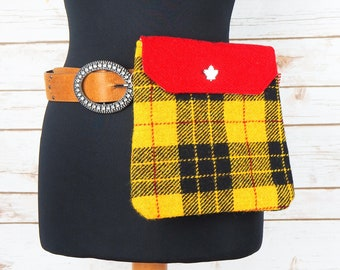 Verity - Red & Yellow Hunting Macleod Harris Tweed Cross Body/ Bum Bag
