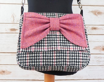 Juliette - Pink, Black & White Houndstooth Harris Tweed Cross Body Bag with bow