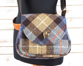 Bella - Beige, Black & Blue Tartan Harris Tweed Cross Body Bag