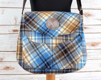 Myrtle - Blue & Oatmeal Tartan Harris Tweed Bag with Cross Body strap