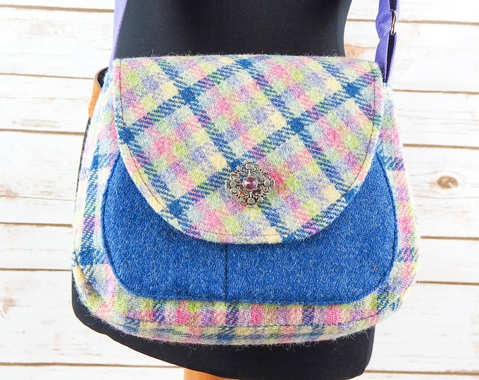 Featured listing image: Bella - Pastel Check Tartan Harris Tweed Cross Body Bag