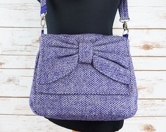 Juliette - Purple Check Tartan Harris Tweed Cross Body Bag with bow