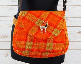 Bella - Orange Tartan Harris Tweed Cross Body Bag