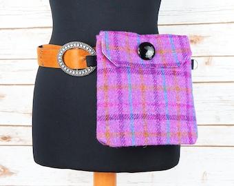 Verity - Pink Overcheck Harris Tweed Cross Body/ Bum Bag