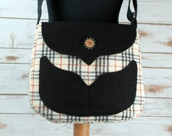Myrtle - Oatmeal Tartan Harris Tweed Bag with Cross Body strap