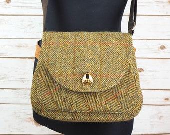 Bella - Olive Green Herringbone Harris Tweed Cross Body Bag