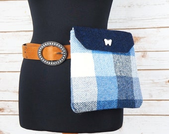 Verity - Blue Block Check Harris Tweed Cross Body/ Bum Bag