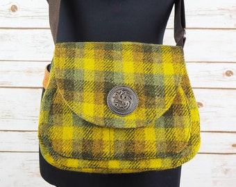 Bella - Olive Green Check Harris Tweed Cross Body Bag
