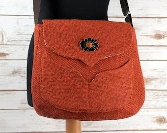 Myrtle - Orange Herringbone Harris Tweed Bag with Cross Body strap