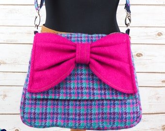 Juliette - Pink Blue Teal and Maroon Check Harris Tweed Cross Body Bag with bow