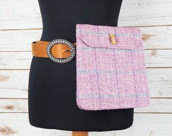 Verity - Pink Herringbone Harris Tweed Cross Body/ Bum Bag
