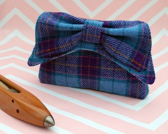 Audrey - Blue Purple Tartan Harris Tweed Clutch Bag - evening purse - bow - formal - handmade