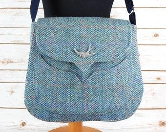 Myrtle - Teal Green/ Baby Blue herringbone Harris Tweed Bag with Cross Body strap