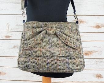 Juliette - Brown Herringbone Harris Tweed Cross Body Bag with bow