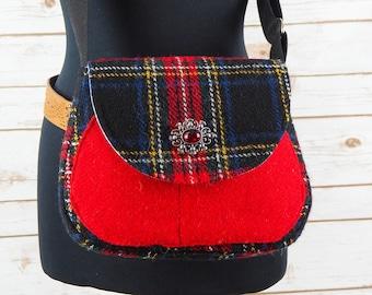 Bella - Black, Red & Yellow tartan Harris Tweed Cross Body Bag