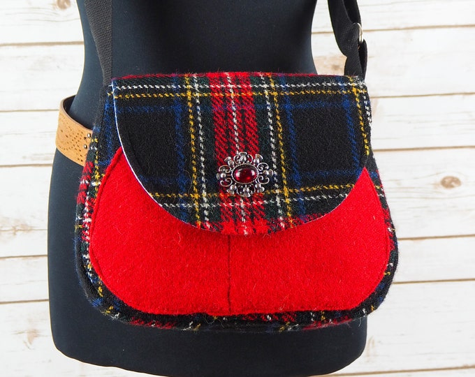 Featured listing image: Bella - Black, Red & Yellow tartan Harris Tweed Cross Body Bag