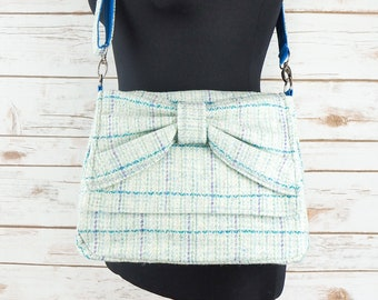 Juliette - Blue Herringbone Harris Tweed Cross Body Bag with bow