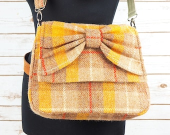 Juliette - Yellow and Oatmeal Tartan Harris Tweed Cross Body Bag with bow