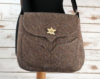 Myrtle - Brown Herringbone Donegal Tweed Bag with Cross Body strap