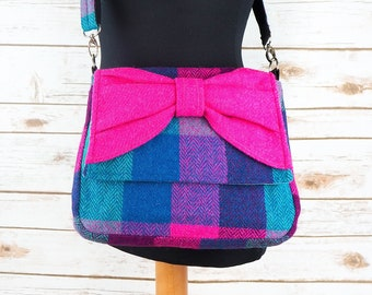 Juliette - Pink, Purple & Teal Tartan Harris Tweed Cross Body Bag with bow