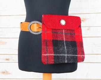 Verity - Red & Black Tartan Harris Tweed Cross Body/ Bum Bag