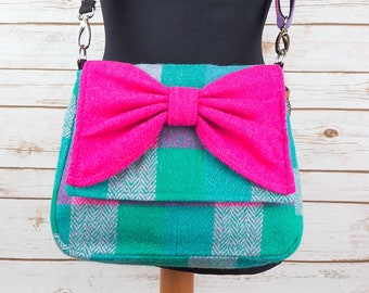 Juliette - Teal with multicoloured overcheck Harris Tweed Cross Body Bag with bow