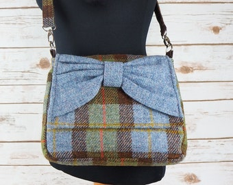 Juliette - MacLeod Tartan Harris Tweed Cross Body Bag with bow
