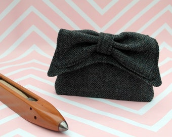 Audrey - Grey Herringbone Harris Tweed Clutch Bag - evening purse - bow - formal - handmade
