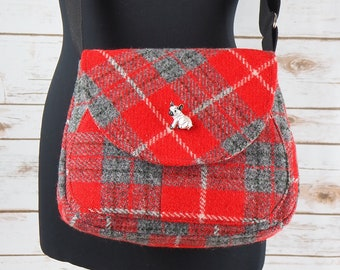 Bella - Red & Grey Tartan Harris Tweed Cross Body Bag