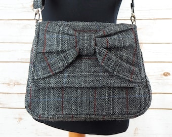 Juliette - Grey Harris Tweed Cross Body Bag with bow