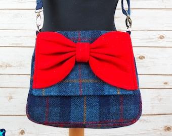 Juliette - Blue Tartan & Red Bow Harris Tweed Cross Body Bag with bow