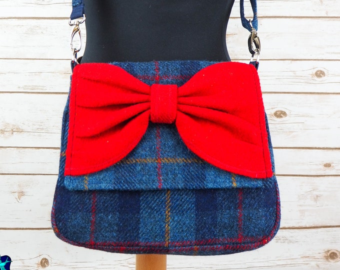 Featured listing image: Juliette - Blue Tartan & Red Bow Harris Tweed Cross Body Bag with bow