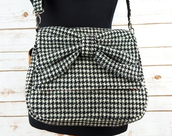 Juliette - Black and White Houndstooth Harris Tweed Cross Body Bag with bow