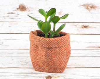 Small Fabric Pot in Orange Herringbone Harris Tweed
