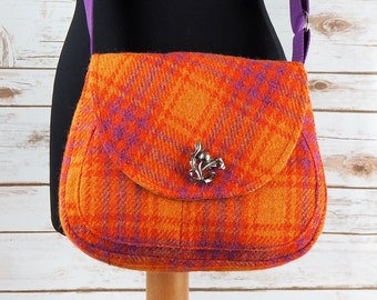 Bella - Orange Pink Check Harris Tweed Cross Body Bag