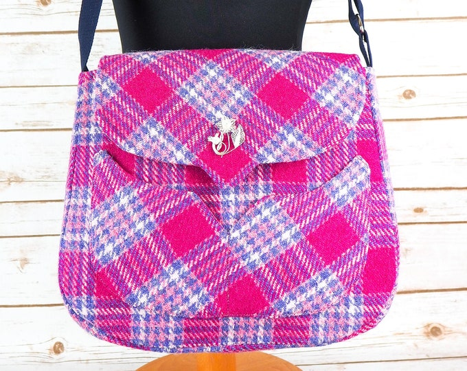 Featured listing image: Myrtle - Pink, Blue & White tartan Harris Tweed Bag with Cross Body strap